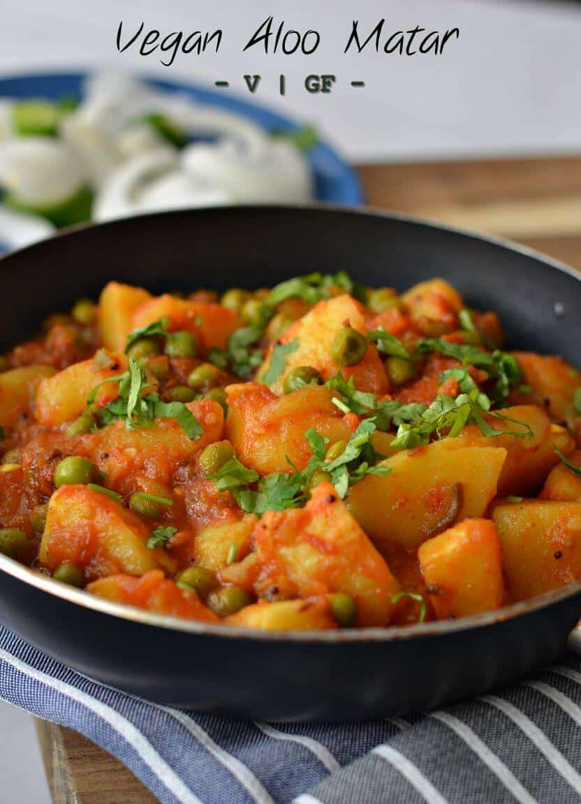 Vegan Aloo Matar Recipe | Indian Aloo Matar Dhaba Style | Potato Peas Curry