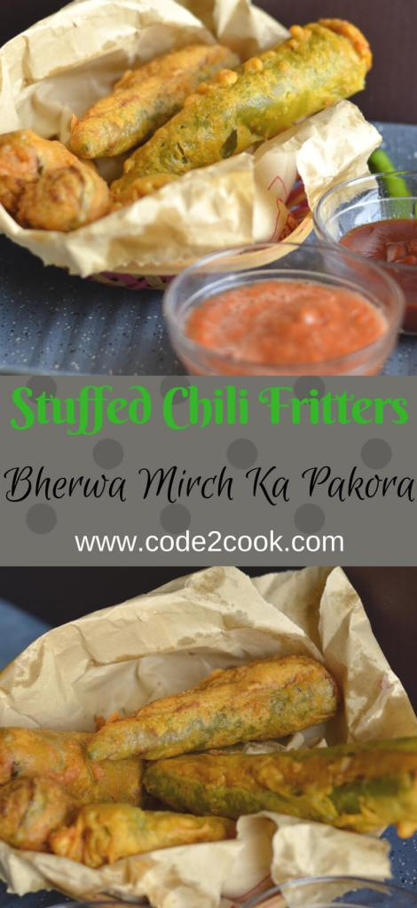 Bherwa Mirch ka pakora is stuffed green peppers with mashed potatoes filling with some aromatics spices, dipped in spicy besan (gram flour) batter and deep fried. It is a popular Rajasthani street food known as bherwa mirch vada too.