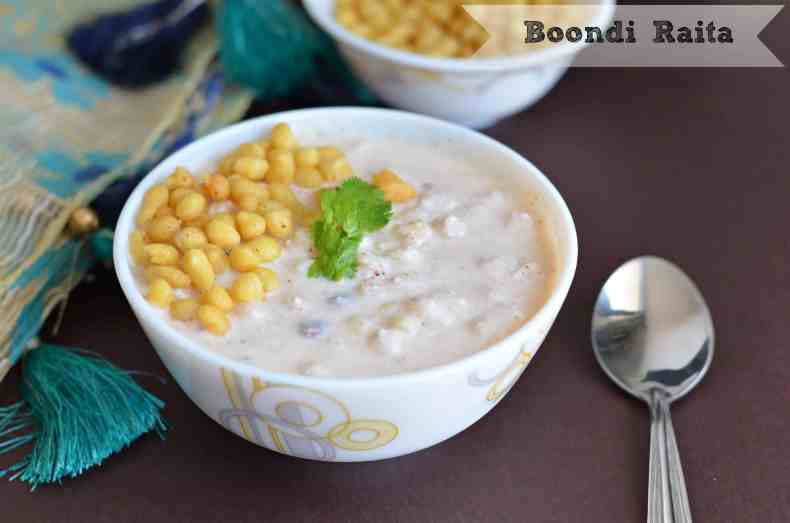Boondi raita orboondi in curd is very easy to make and a default raita in North Indian kitchen. Having only two ingredients curd & boondi this raita goes very well with biryani or any rice dish. At the same time,it is also a great accompaniment with stuffed parathas.