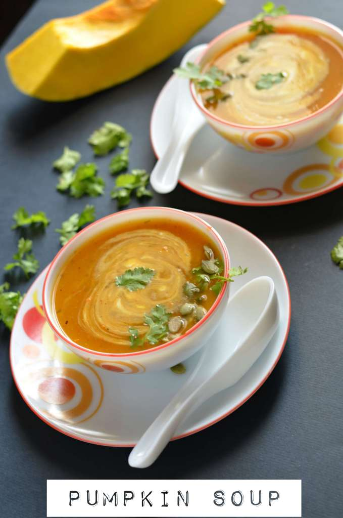 Pumpkin soup or kaddu ka soup is a thick creamy soup and very deliicous.It is savory, simple, healthy and nutritious soup in cold winters.