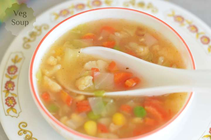 Corn veg soup is delicious with crunchy vegetables and aroma of garlic and giner. A dash of pepper powder makes it little spicy but overall is lip smacking soup.