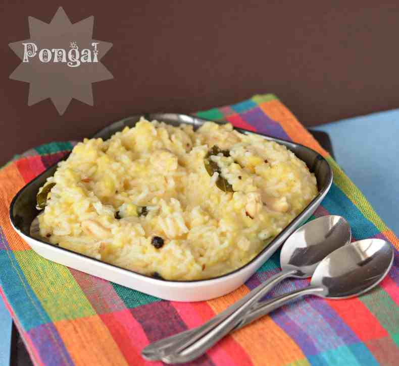 For Pongal we make a recipe KharaPongal also known as Van Pongal.  Yellow lentil cooked with rice and a few spices taste amazing and good for the stomach.