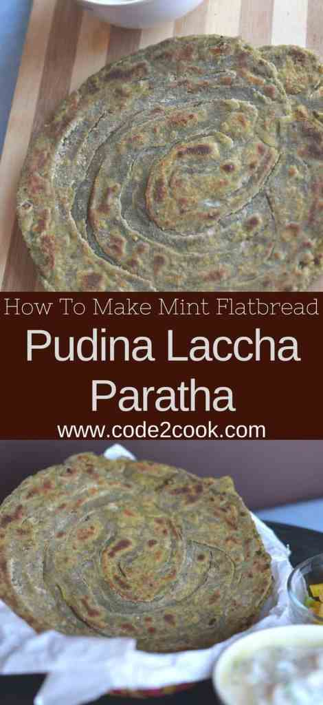 Pudina laccha paratha, as the name suggest this paratha or flat bread is made using whole wheat flour and mint leaves. Having mint in the paratha makes it so flavorful and aromatic. Also, it is a laccha paratha (layered flatbread), which is another addition of crisp and crunchy texture. Pudina laccha paratha is great choice for any time meal with either chutney or curry or raita. www.code2cook.com