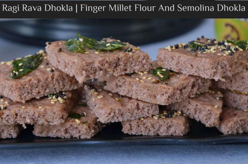 """Ragi is a rich source of fiber, calcium, and iron. When it is consumed it is considered to be a great food for weight control, diabetes and cooling the body. Ragi is also gluten-free and highly suitable for those who are lactose intolerant. Today I am showcasing a Gujarati snack """"Dhokla"""" in a new avatar. Ragi dhokla, a very simple snack to make and oil free as it is steam cooked. So let us see how to make steamed Ragi Rava Dhokla."""