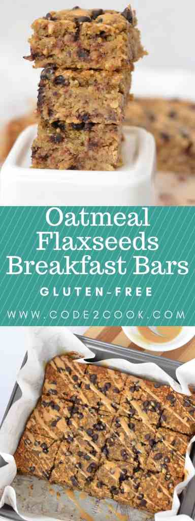 Oatmeal Flaxseeds Breakfast Bars are very good for breakfast. These bars are not only filled with the goodness of oatmeal and flaxseeds but pumpkin puree also makes it so healthy. With the natural sweetener like maple syrup or honey makes it eating guilt free. Oatmeal flaxseeds breakfast bars are gluten-free as well, just a caution to use gluten-free oats. www.code2cook.com