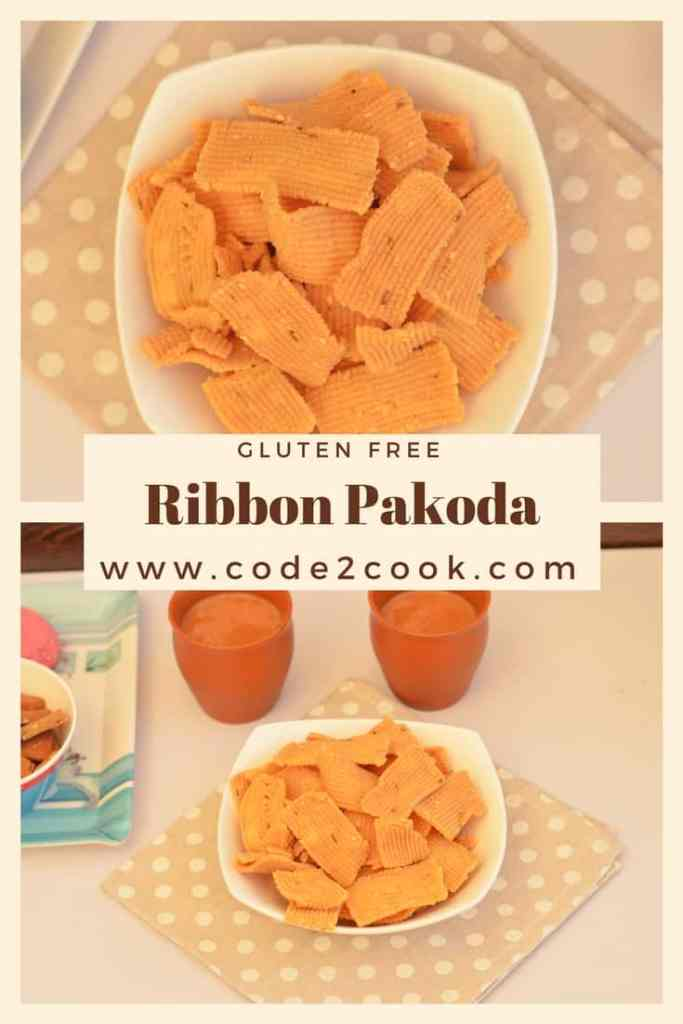 Ribbon Pakoda is very easy and quick snack to prepare at home. It is perfect for any festival time or just make them and enjoy your cup of tea. Ribbon Pakoda known by this name as it resembles to ribbon. This snack is deep-fried and made with gram flour and rice flour. Which makes ribbon pakoda gluten free as well. www.code2cook.com