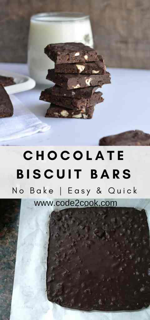 Today I am sharing yet another no-bake recipe Chocolate biscuit bars. Chocolate biscuit bars are made with leftover Brittania bourbon biscuit, nuts, and chocolate. Very easy to make, just whisking all ingredients and set the mixture in the fridge for few minutes. These no-bake chocolate biscuit bars made their way to my kid's tummy in just a few minutes. www.code2cook.com