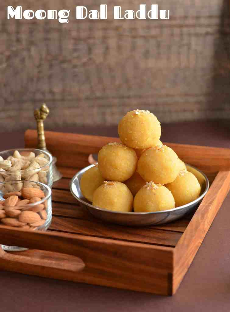 Moong dal laddu is a traditional Indian festive sweet. Often prepared on Holi, Diwali, Janamashtmi or any special occasion throughout the year. Moong ki dal ke laddu is easy to make dessert with just three ingredients moong dal or yellow lentil, sugar, and ghee or clarified butter.