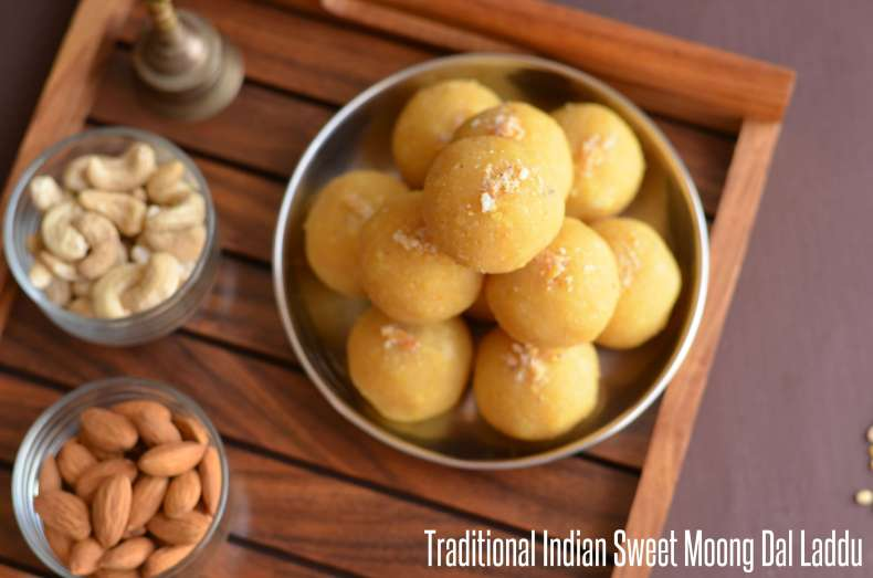 Moong dal laddu is a traditional Indian festive sweet. Often prepared on Holi, Diwali, Janamashtmi or any special occasion throughout the year. Moong dal laddu is easy to make dessert with just three ingredients moong dal or yellow lentil, sugar, and ghee or clarified butter.