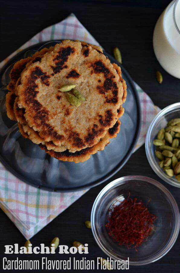 Elaichi roti or cardamom flatbread is a very simple Indian flatbread which can be prepared in a jiffy whenever you crave for something sweet. In whole wheat flour added sugar granules, flavored with saffron strands and cardamom, kneaded using milk. This bread is sweet, crispy, and thick in texture. Elaichi roti tastes great if taken with milk.