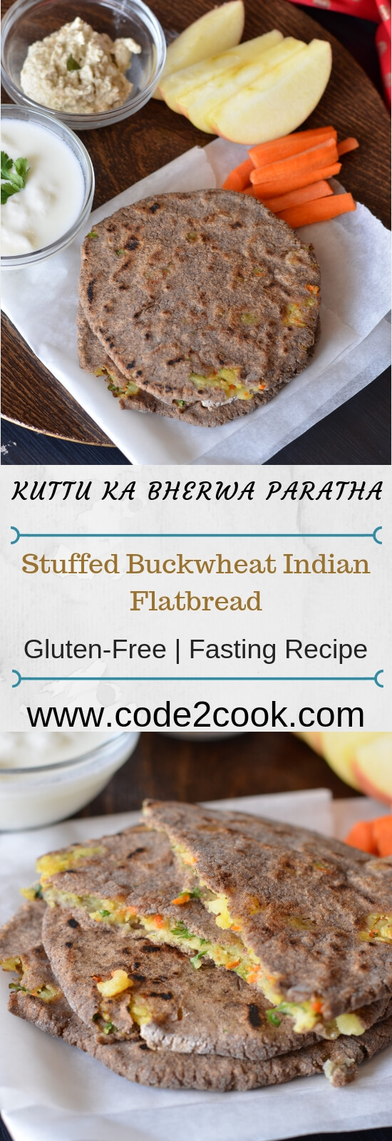 Farali paratha or kuttu ka paratha is a traditional Indian flatbread eaten during Navratri fasting days. Kuttu, also known as buckwheat flour, is commonly used by the majority of people in India during fasting days, especially in Navratri. Bherwa kuttu ka paratha is prepared with spicy potato carrot filling in kuttu flour.