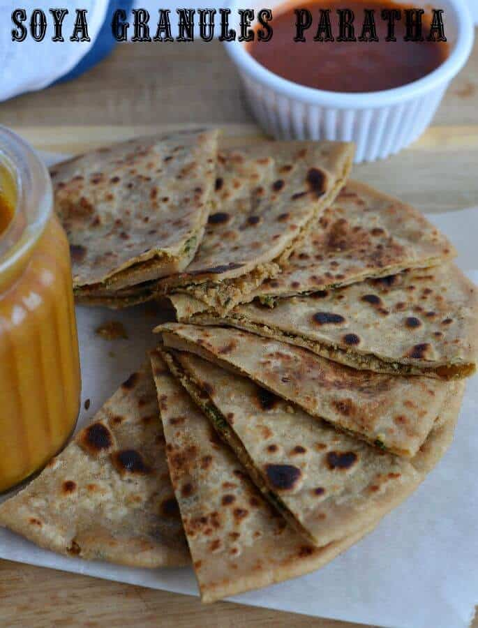 Soya chunks paratha is also known as Soya kheema paratha. Originally kheema paratha is an unleavened flatbread stuffed with spicy minced meat. Instead of meat, I used spicy soya chunks filling in paratha. Soya kheema paratha or veg kheema paratha is very tasty, high in nutritional values and a popular Indian breakfast.