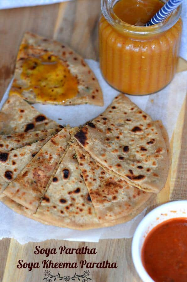 Soya chunks paratha is also known as Soya kheema paratha. Originally kheema paratha is an unleavened flatbread stuffed with spicyminced meat. Instead of meat, I used spicy soya chunks filling in paratha. Soya kheema paratha or veg kheema paratha is very tasty, high in nutritional values and a popular Indian breakfast.