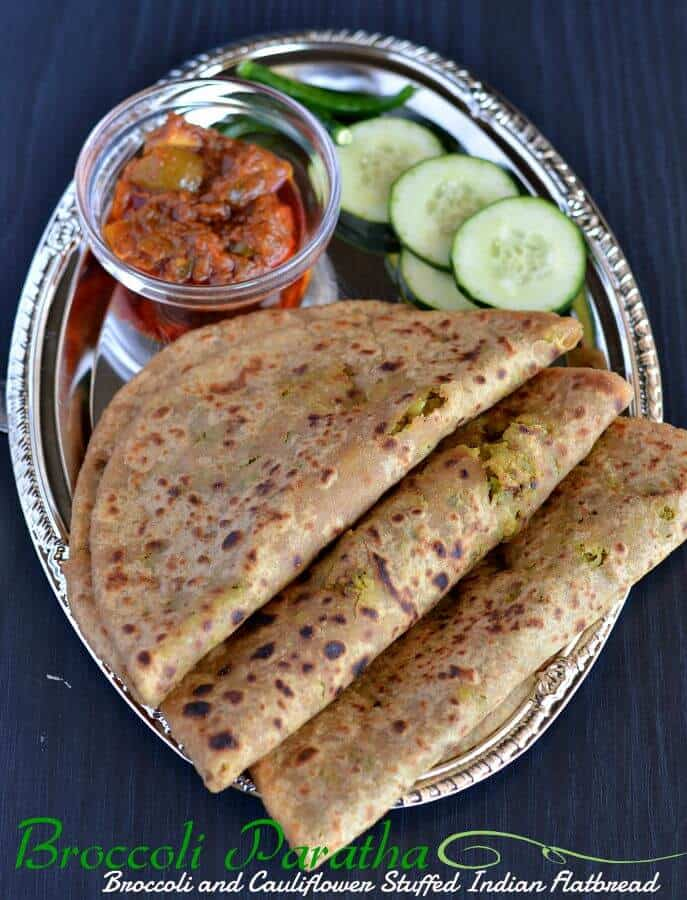 Broccoli-cauliflower paratha is another variation of Indian flatbread where a spicy mixture of broccoli and cauliflower is stuffed in whole wheat flour dough ball. This paratha taste amazing as both of the vegetables brings a unique taste and make a great breakfast or kids tiffin box recipe.