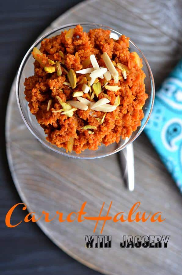 Carrot halwa with jaggery or Gejrela is a popular Indian dessert made with carrot, full-fat milk, ghee, and sugar. For a healthier version, I replaced sugar with jaggery.