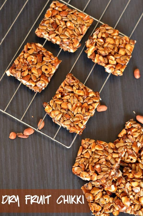 Dry fruit chikki or mixed nut chikki is just another nutritious version of peanut chikki. It is loaded with dry fruits, healthy seeds, and iron-rich jaggery. It is popularly known as chikki in India and commonly eaten during winters.