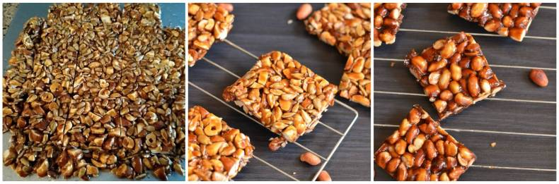 spread the mixture on greased surface. Mark with knife while hot. Snap them and serve. close up clicks for dry fruit chikki and peanut chikki.