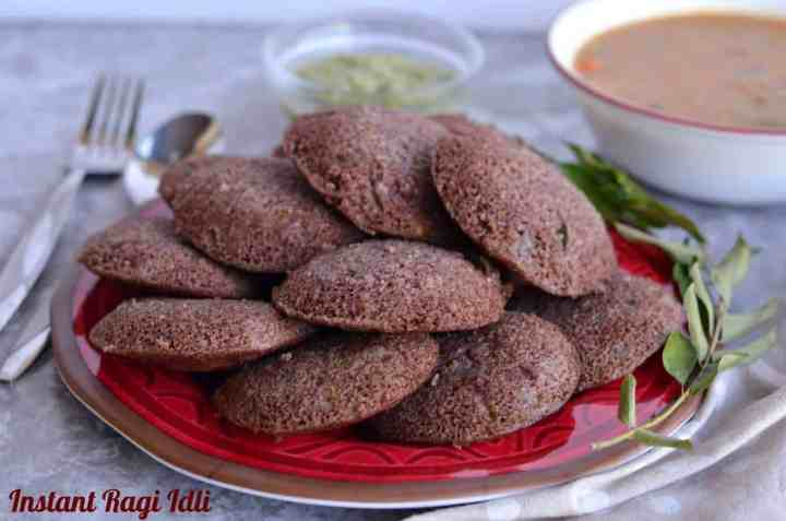 Instant ragi idli is a healthy and nutritious breakfast where idlis are made with ragi flour, also known as finger millet flour. Idlis are popular South Indian breakfast served with coconut chutney and sambhar. Instant ragi idli is easy and quick to make at home.