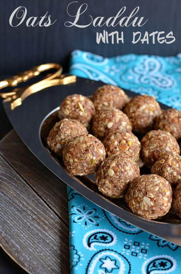 Oats laddu with dates is mildly Indian sweet laddu recipe made with rolled oats, dry fruits, and jaggery. An easy to make delicious snack and power packed laddu recipe loaded with essential nutrients. Oats laddu with dates are fiber-rich and makes a perfect afterschool snack for kids or can be packed in their lunch tiffin-box.