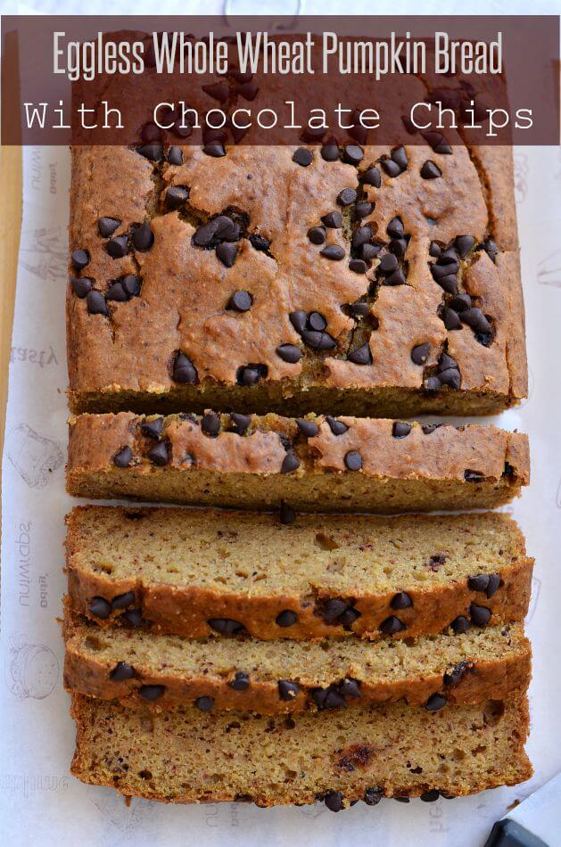 Eggless whole wheat pumpkin bread is soft, moist and easy to make bread recipe with chocolate chips.