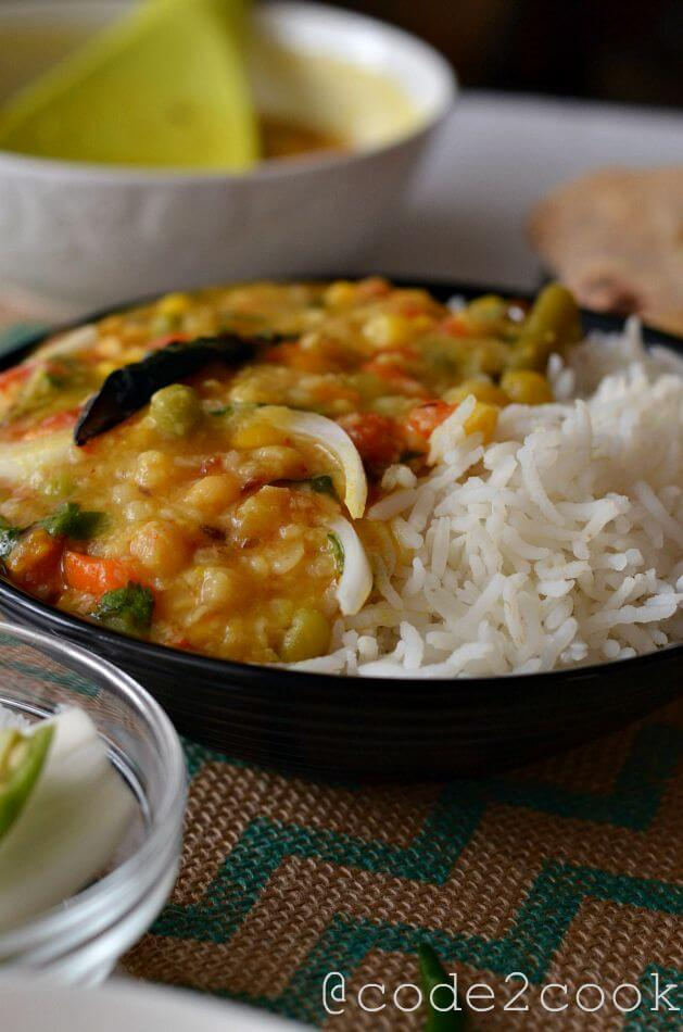 Mix vegetable moong dal is a healthy, nutritious and a flavorful vegan lentil recipe. This is a wholesome lentil soup with loads of vegetables with fewer spices. This one pot dal is very easy to make and gets ready under 30 minutes.