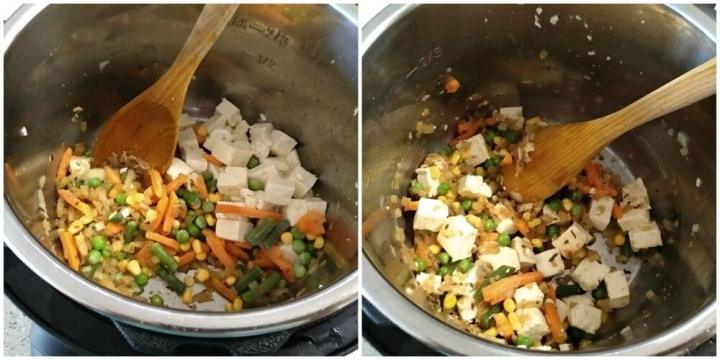 added mix vegetables and sauteed tofu. Mix well.