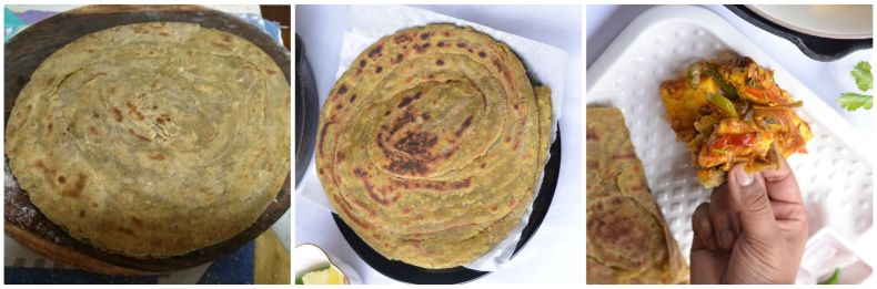 cooked pudina laccha paratha is clicked from top.