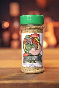 Code 3 Spices 6oz. Bottle of Grunt Rub Garlic Blend with a green cap.