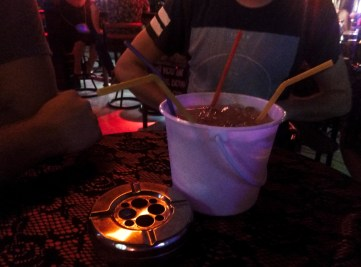 traditiona bucket with alcohol