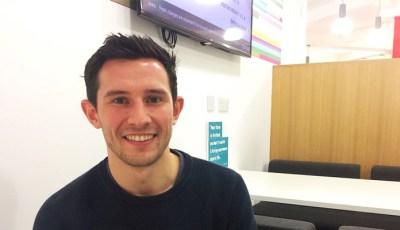 Software Developer Peter sitting at a desk