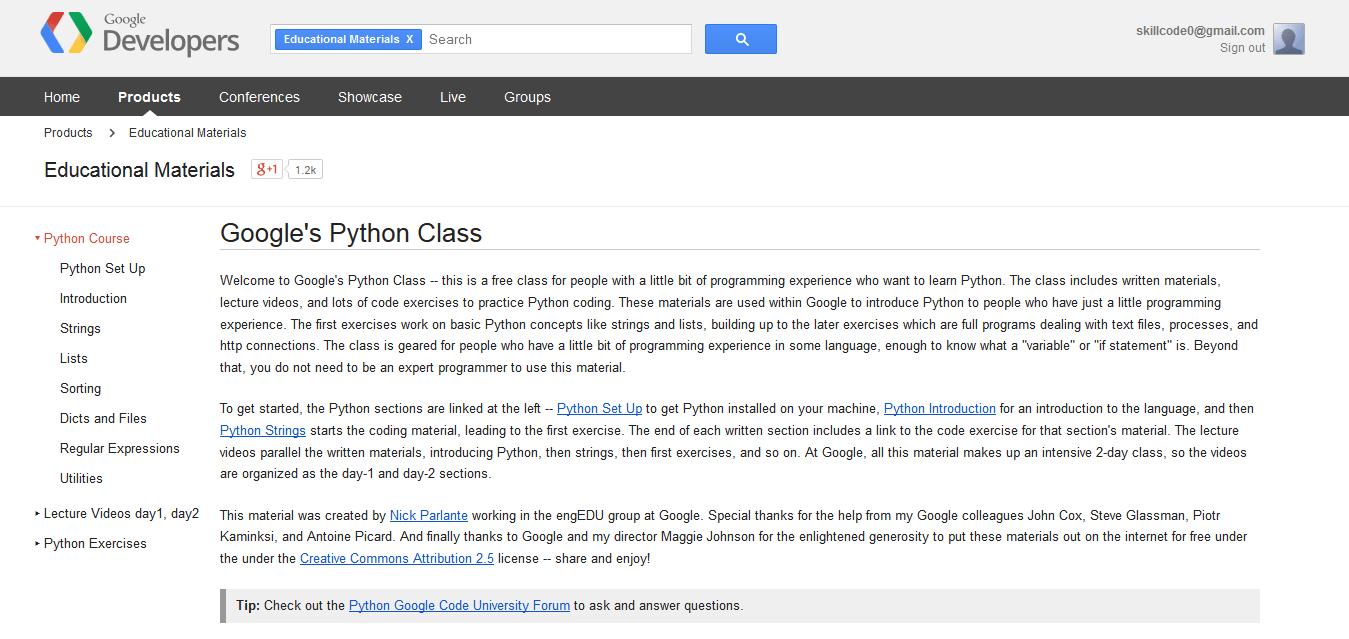 Google's Python Class - Educational Materials — Google Developers