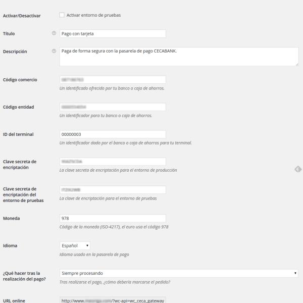 Ajustes de WooCommerce para pasarela de pago Ceca — WordPress