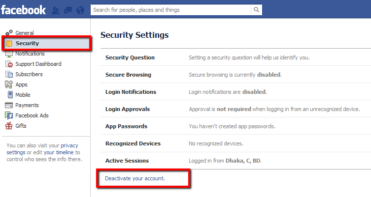 How to deactivate a facebook account code exercise deactivate facebook ccuart Image collections