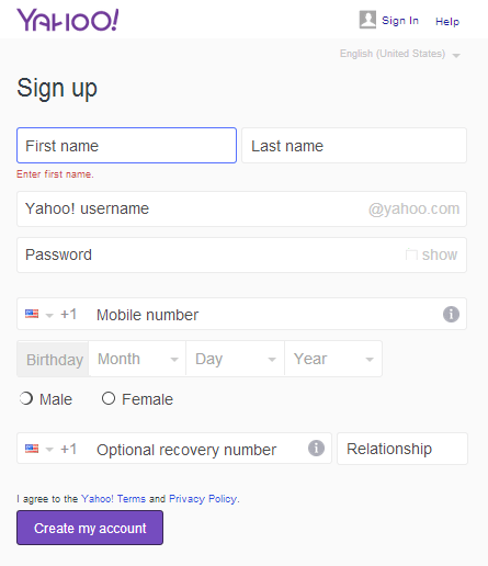 create a yahoo email address for free