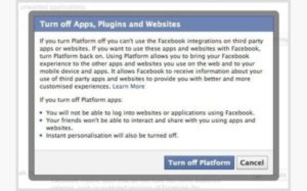 Turn off your apps on Facebook