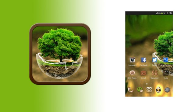 HD Green Nature Cartoon Theme for android free
