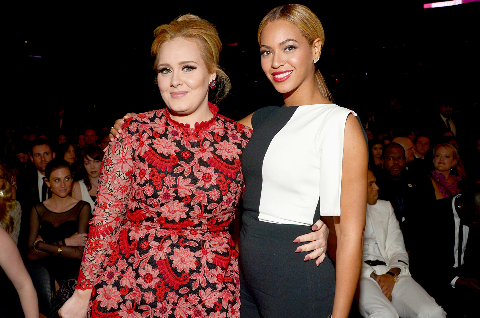 LOS ANGELES, CA - FEBRUARY 10: Adele and Beyonce attend the 55th Annual GRAMMY Awards at STAPLES Center on February 10, 2013 in Los Angeles, California.  (Photo by Lester Cohen/WireImage)
