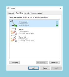 microphone dialog windows