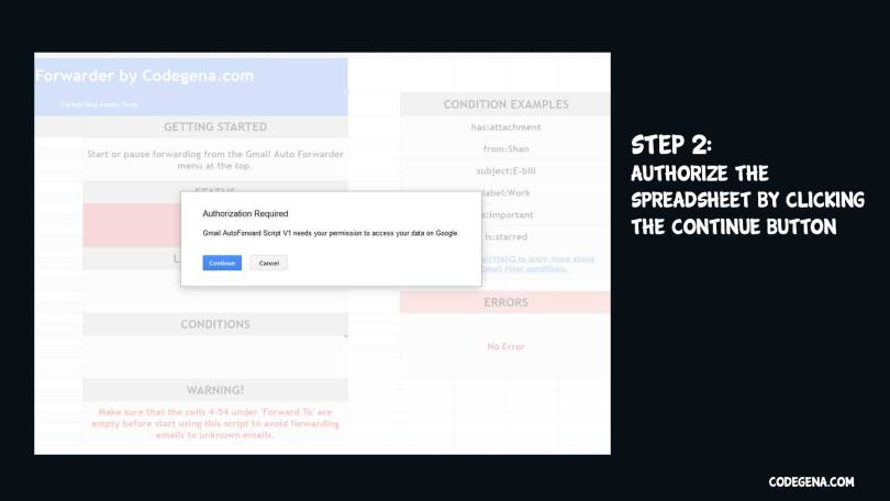 Authorize the spreadsheet for the gmail auto forwarder script to function