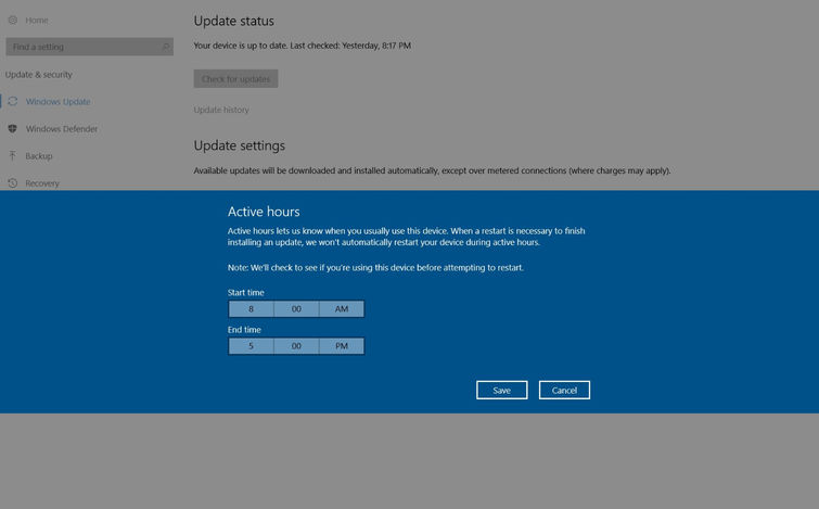 set active hours in windows 10