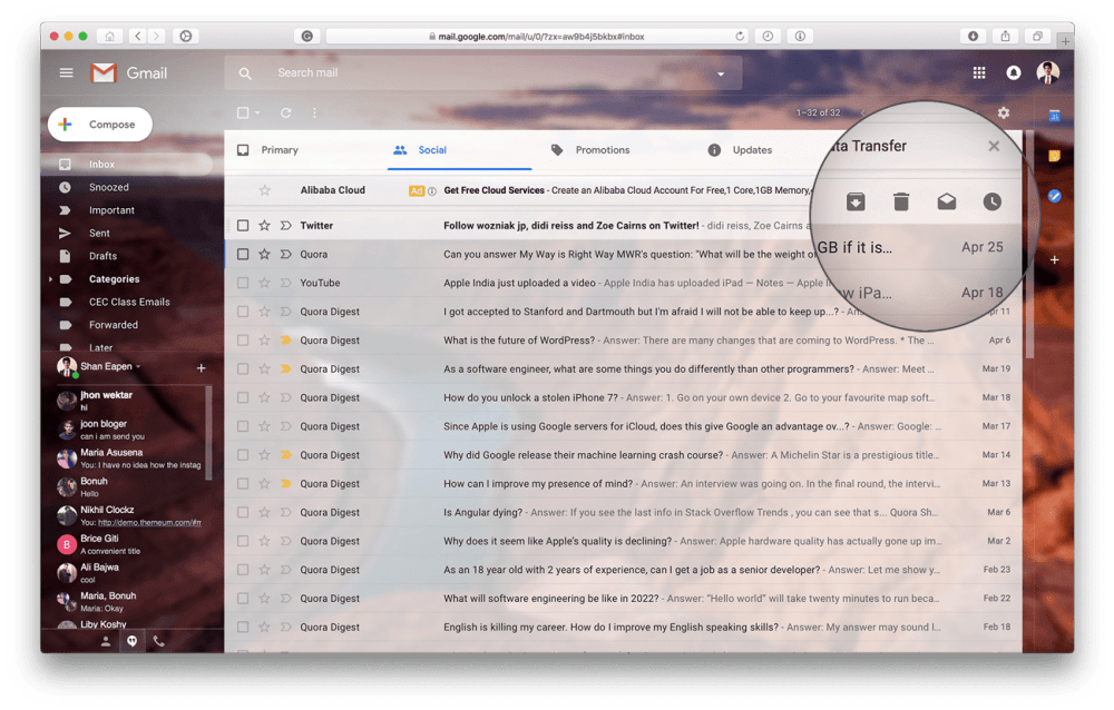 The new gmail has inline action buttons just like the Google Inbox