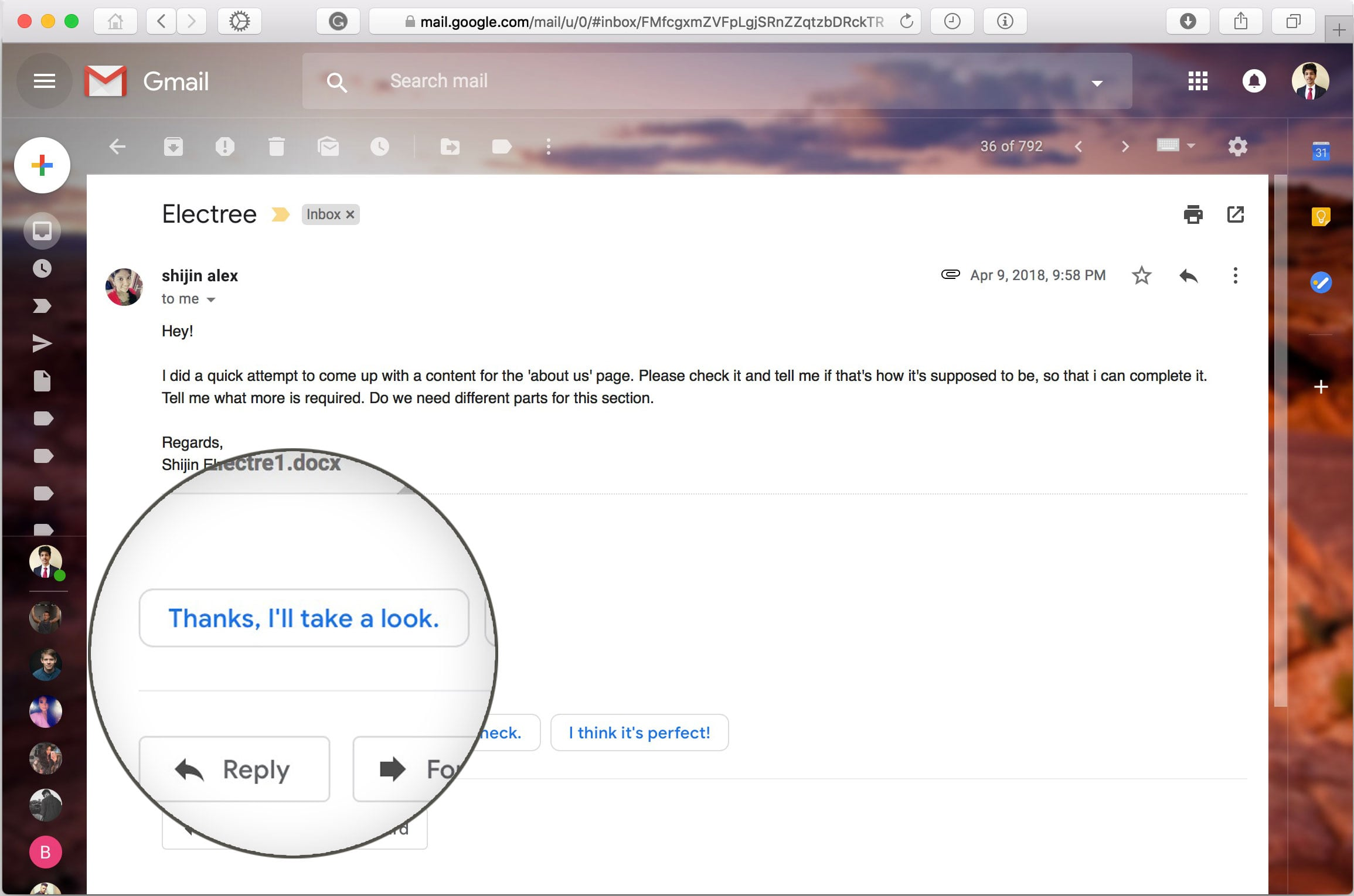 Smart reply is now available inside the gmail website