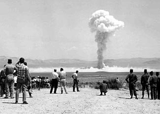 People observing the nearby Small Boy test in the NV desert, 1962.