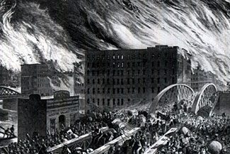 This artist's impression of the tens of thousands of people fleeing the 1871 Great Chicago Fire could become a modern day reality after uncontrollable fires break out following an EMP event.