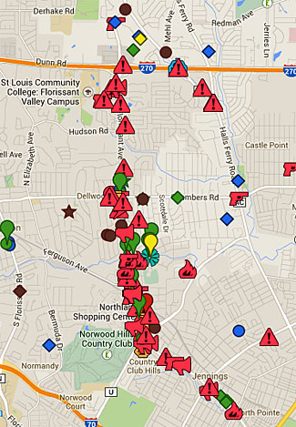 Locations of riot events in St Louis.  The original police shooting is on the left, in the middle, in green.