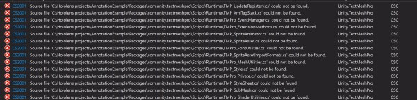 Errors and solutions Error: Unity TextMeshPro! Deployment fails with a bunch of errors. Solution: So this package is now automatically bundled in Unity's projects. This is of no use to me for my projects, so if I simply remove the package and build and deploy it works. Go to Unity-Window-Package Manager and a pop up appears.Click on TextMeshPro and Remove. Error: Dictation Recognizer does not start Solution: Enable 'InternetClient' under Capabilities. Also make sure your HoloLens is connected to the Internet. Error: tapping won't work on the Prefab. Solution: Make sure you have added a Box Collider to the Sticky_note_red. Also ensure that you are checking for the right name: in this case, if the tapped object is New Prefab(Clone) in the code Error: Null reference exception of Dictation Manager. Solution: Need to add to the scene an empty game object to which the DictationInputManager.cs script can be attached to. The InputManager looks for this in order for the DictationManager to work. (Dictation tutorial is explained in detail in this article: https://codeholo.com/2018/03/17/dictationexamplehololens/)