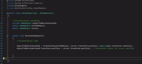Now going back to the AnnotateScript.cs:  Include the instantiation code I have provided in the AnnotateSpeech() method.