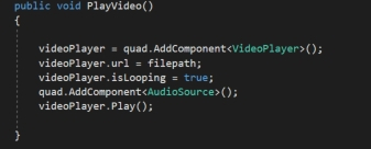 If you look at the API code, in the OnStartedVideoCaptureMode() function, it stores the video as TestVideo_{0}.mp4 in the persistentdataPath, which will be on the HoloLens in a path like this: C:/Data/Users/nisch/AppData/Local/Packages/Template3D_pzq3xp76mxafg/LocalState\TestVideo_9163378.mp4 But let's take the recorded video and play it on the Quad. Make the following code changes. First add a public variable GameObject which will reference our quad. Go back to the script in the Inspector and reference our Quad object in the Inspector field quad of the TakeVideo script. We also need a VideoPlayer object. In the Start() function, initialize this. It will throw an error for the VideoPlayer. So add the using directive, using UnityEngine.Video; Make the filepath also a public global variable, we will use it later.  Write a separate function called PlayVideo() or something similar. First the quad needs a VideoPlayer component and an AudioSource component. Add that in the code. We need to copy the movie from the filepath and copy this to our Quad's Videoplayer. Also make it loop (optional) Don't forget to attach an AudioSource to play the audio.  The PlayVideo() function code is shown below. See my full tutorial on how to play videos in the HoloLens apps.  Go back to the SpeechInputSource and add a keyword for Play We will call PlayVideo() from the TakeVideo script via the SpeechInputHandler  Let's test this. Build and deploy again onto the HoloLens.  Once you say Record, the video is recording for 5 seconds (you can change the time on top with the variable MaxRecordingTime) and then stored onto the persistentDataPath. Then say Play to see the video playing on your Quad. Of course adding visual feedback will help you figure out when you say Play() so that you don't get any errors even before it has finished recording.
