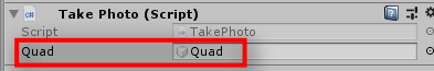 Now go back to the Unity scene and drag and drop your Quad into the Inspector field Quad of the TakePhoto script. Go to the SpeechInputHandler and reference the Click() function on the PhotoCaptureManager Object.