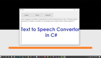 Text to Speech Convertor in C#
